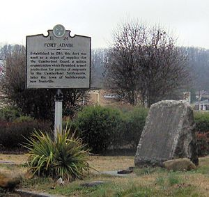 Fountain City, Knoxville, Tennessee - THC marker and DAR monument recalling the site of Fort Adair