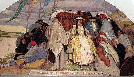 The 1725 return of an Osage bride from a trip to Paris, France. The Osage woman was married to a French soldier. Fort-orleans-return.jpg