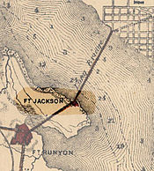 Fort Jackson highlighted on an 1865 map