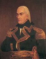 Painting of a man with black eyebrows and white hair pulled back in a queue. He wears a dark blue military uniform and has his right hand stuck between the buttons in Napoleon-style.