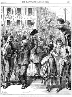 Paris during the siege, 1870-71. A contemporary English cartoon Franco-Prussian War - Students Going to Man the Barricades - Illustrated London News Oct 1 1870.jpg