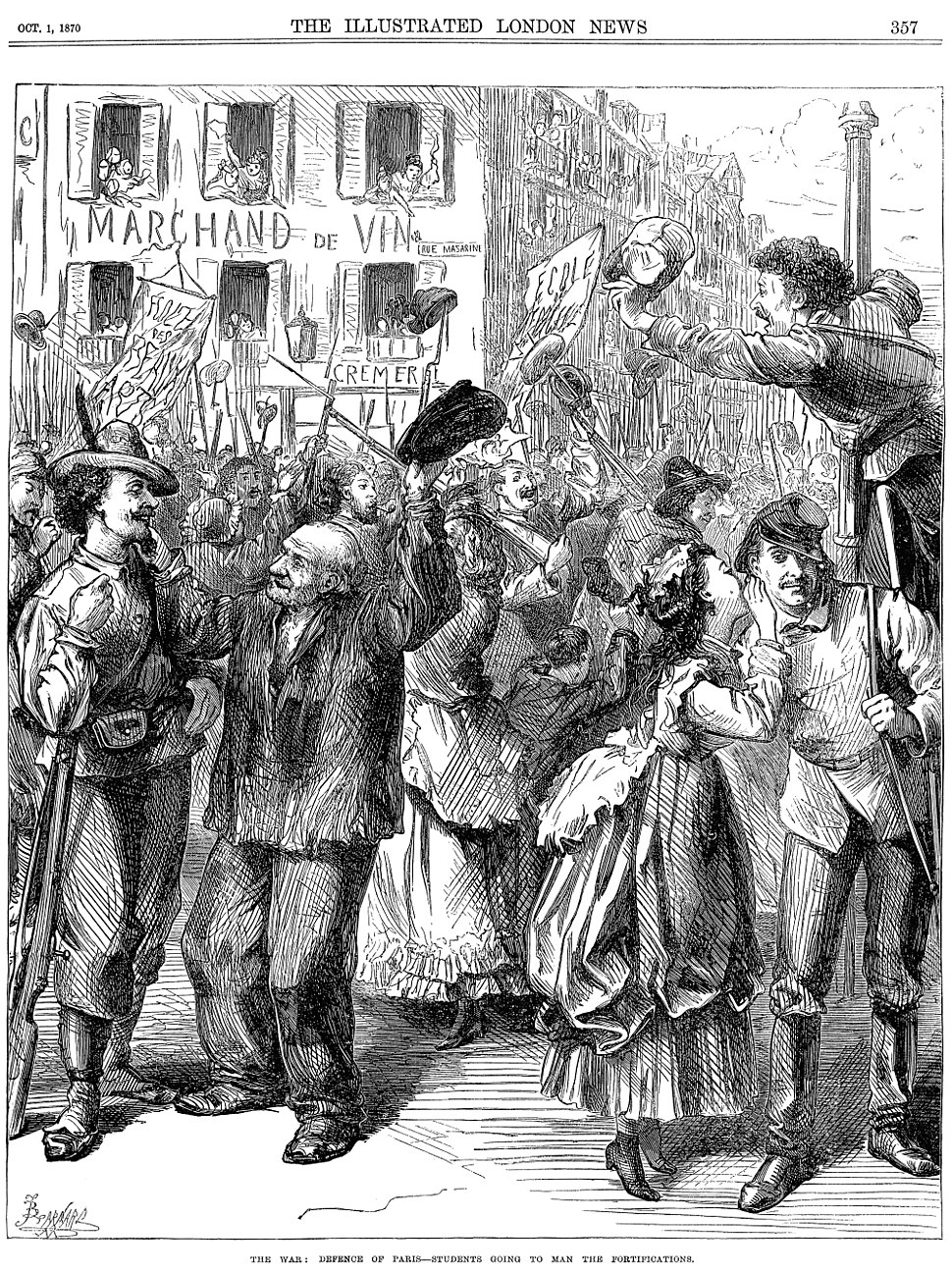 Franco-Prussian War - Students Going to Man the Barricades - Illustrated London News Oct 1 1870