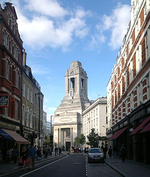 Long Acre - Freemasons' Hall at the eastern end of Long Acre.