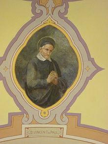Affresco di San Vincenzo nella sala conferenze della Biblioteca regionale di Aosta.