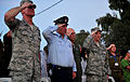 From left, U.S. Air Force Lt. Gen. Craig Franklin and his Israeli counterpart salute during the playing of a national anthem during the closing ceremony of Austere Challenge 2012 at Hatzor Israeli Air Force 121108-F-QW942-057.jpg
