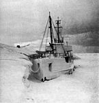 Frozen gasoline barge at McMurdo Sound c1956.jpg