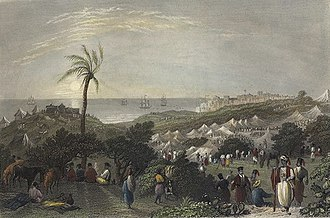 Peasants' revolt in Palestine - Encampment of Ibrahim Pasha, near Jaffa. Print by W. H. Bartlett, from 1838