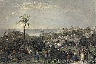 Peasants' revolt in Palestine - Encampment of Ibrahim Pasha, near Jaffa. Print by W. H. Bartlett, from 1838