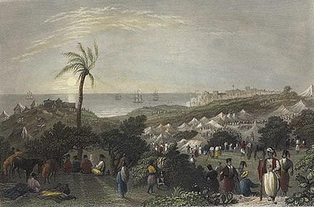 Encampment of Ibrahim Pasha, near Jaffa. Print by W. H. Bartlett, from 1838 G3689.jpg