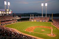 A Cincinnati Reds baseball game at Great American Ball Park.