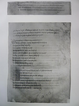 "History of religion in the Netherlands - The Old Saxon Baptismal Vow: ""Forsachistu diobolae.."" (Forsake devils) and ""gelobistu in got alamehtigan fadaer"" (believe in god almighty father). Left caption in a later writing: ""Abrinuciatio diaboli lingua Teotisca veter."" = (abjuration of the devil in Old German). Under the Baptismal Vow in Latin an enumeration of the first 20 practices in the Indiculus superstitionum et paganiarum."