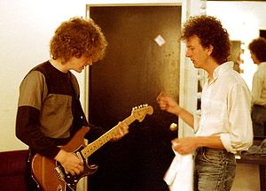 Scott Miller (pop musician) - Miller and Gil Ray, prior to first show of new line-up, 1985.