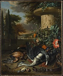 "Jan Weenix: Gamepiece with a Dead Heron (""Falconer's Bag"")"