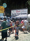 Visitors enjoy free samples of garlic ice cream (2007)