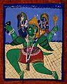 Garuda carrying Vishnu and Lakshmi. Gouache drawing. Wellcome V0044942.jpg