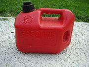 A container for storing gasoline used in the United States; red containers are typically used.
