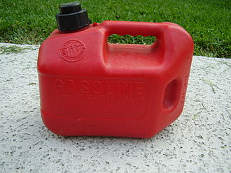 A typical gasoline container holds 1.03 U.S. gallons (3.9 L). GasolineContainer.JPG