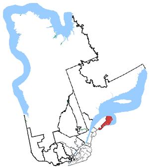 Gaspésie—Les Îles-de-la-Madeleine - Gaspésie—Îles-de-la-Madeleine in relation to other Quebec federal electoral districts