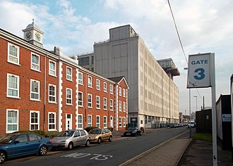 Old Vinyl Factory - View of the former headquarters (left) and Enterprise House on Blyth Road