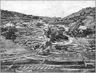 "Biblical cosmology - Valley of Hinnom (or Gehenna), c. 1900. The former site of child-sacrifice and a dumping-ground for the bodies of executed criminals, Jeremiah prophesied that it would become a ""valley of slaughter"" and burial place; in later literature it thus became identified with a new idea of Hell as a place where the wicked would be punished."