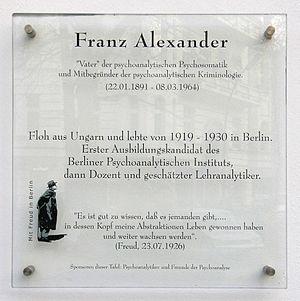 Franz Alexander - Memorial in the Ludwigkirchstraße, Berlin