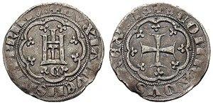 """Simone Boccanegra - A ''denaro grosso'' (""""thick penny"""") from the time of Simone Boccanegra"""