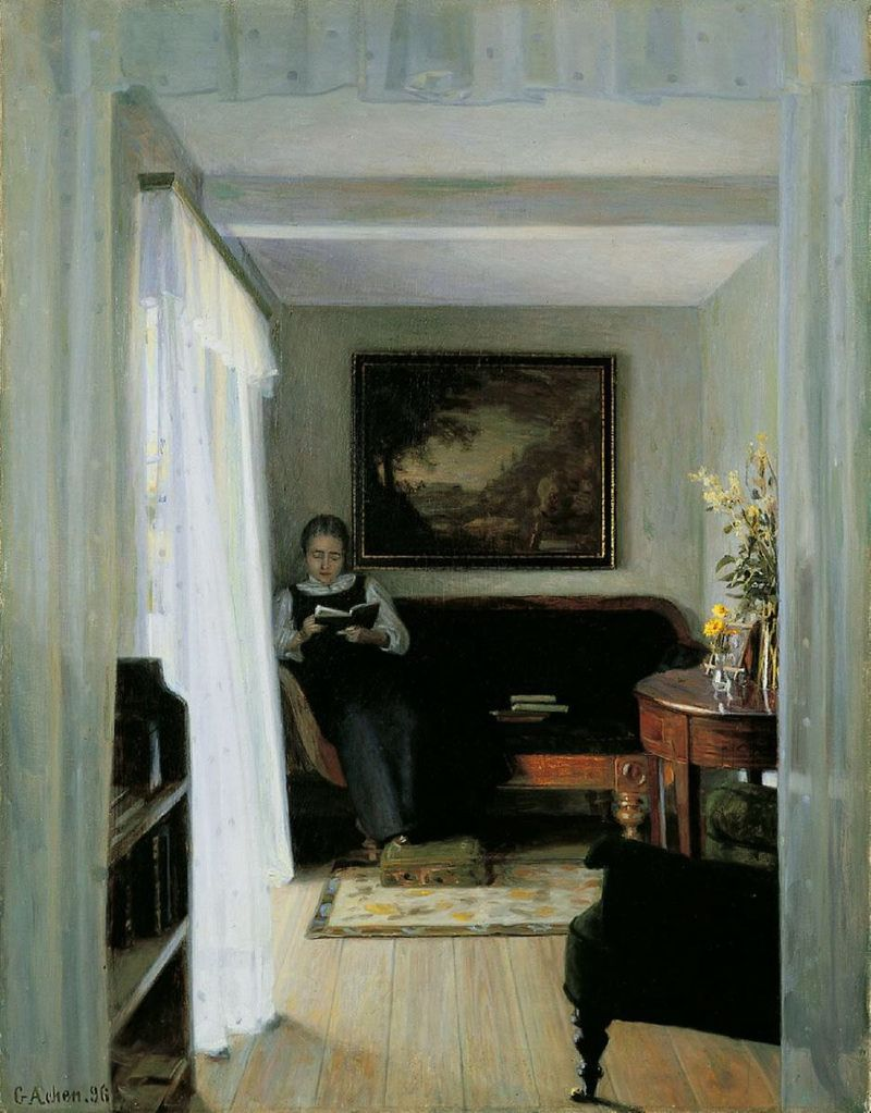 Georg Achen, Interior with reading woman (1896).jpg