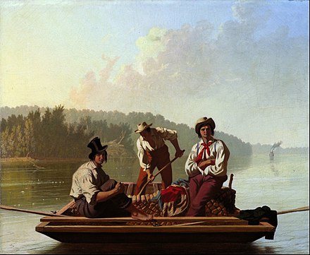 Boatmen on the Missouri c. 1846 George Caleb Bingham - Boatmen on the Missouri - Google Art Project.jpg