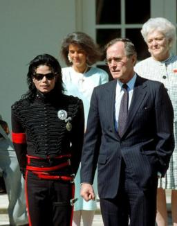 George H. W. Bush with Michael Jackson