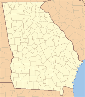 Map showing the location of Chickamauga and Chattanooga National Military Park