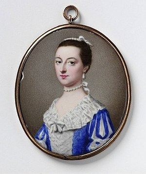 Gervase Spencer - Portrait miniature of an unknown woman by Gervase Spencer, enamel on metal, Victoria and Albert Museum, 1756