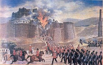Sapper - The fort of Ghazni which fell as a result of mining by a mixed contingent of the Bombay  and Bengal Sappers during the First Afghan War on 23 July 1839.