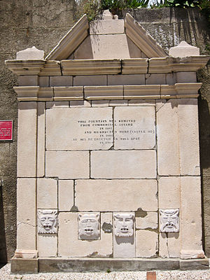 Water supply and sanitation in Gibraltar - A former Spanish fountain with gargoyles in Gibraltar, used from 1684 to 1962