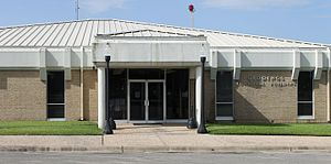 Giddings, Texas - The Giddings Municipal Building is located across from the renovated Lee County  Courthouse.