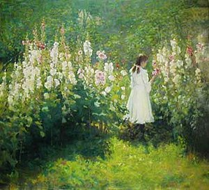 John Hafen - Girl Among the Hollyhocks (1902)