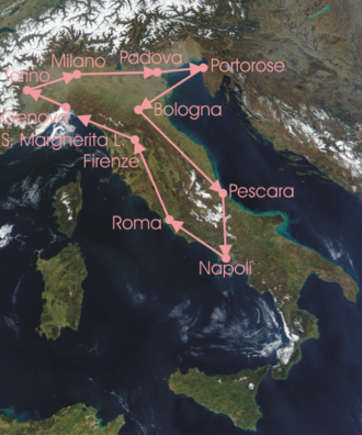 1922 Giro d'Italia - Race Route