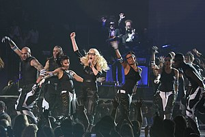 "Hard Candy (Madonna album) - Madonna performing the second single ""Give It 2 Me"", during the Sticky & Sweet Tour."