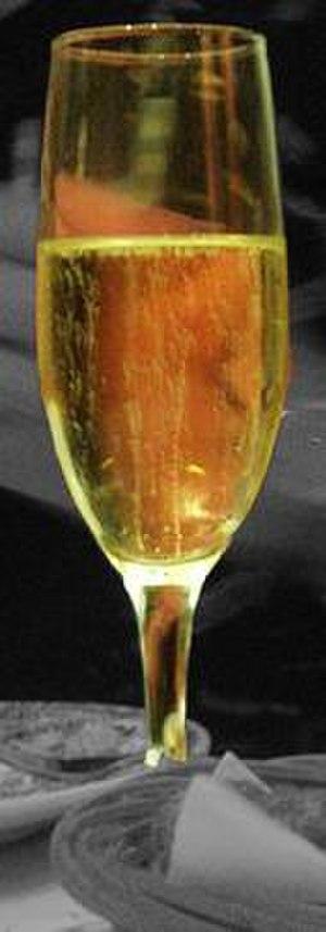 Cava (Spanish wine) - A glass of white cava.