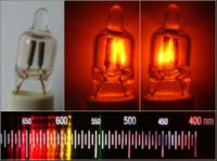 Graphic consisting of four photographs. A row of three photographs at the top all show similar glass capsules with electrodes inside. The left photograph shows the construction of the capsule under normal lighting. The middle photograph shows the capsule with one of the two electrodes glowing. The right photograph shows the capsule with both electrodes glowing. Underneath the row of photographs of the capsule is a photograph of a spectroscope's scale; the scale runs from 700 nm to 400 nm; there are numerous red, orange, and yellow colored lines in the region between 660 and 600 nm, but no lines for readings smaller than 590 nm.