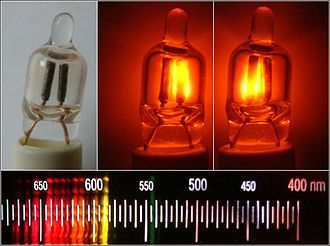 Neon lamp - Unlit and lit neon lamps (NE-2 type) and their light spectrum.