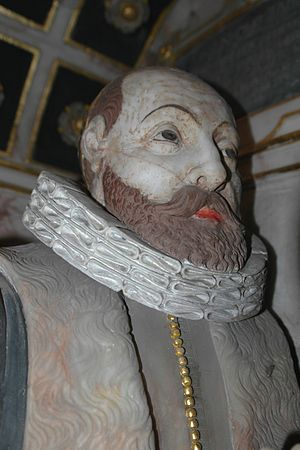Thomas Tesdale - Alabaster likeness of Thomas Tesdale in the Tesdale monument in Glympton parish church