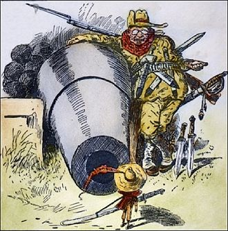 "Monroe Doctrine - 1903 cartoon: ""Go Away, Little Man, and Don't Bother Me"". President Roosevelt intimidating Colombia to acquire the Panama Canal Zone."