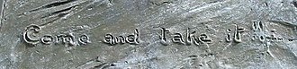 Come and take it - Detail from the monument in Gonzales, Texas