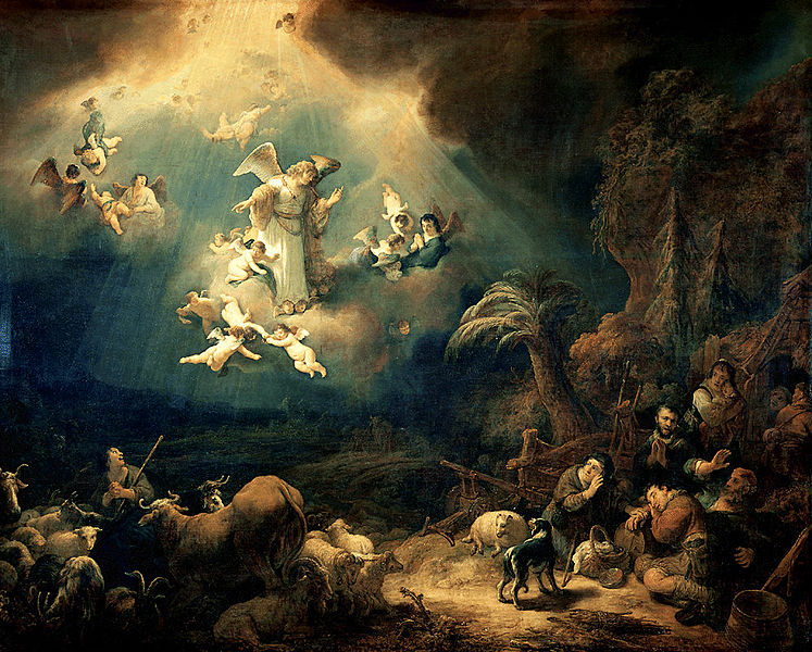 Angels announcing Christs birth to the shepherds (Govaert Flinck 1639)