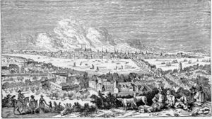 1666 in England - Image: Great Fire Of London 1666 Victorian Engraving After Visscher 300dpi