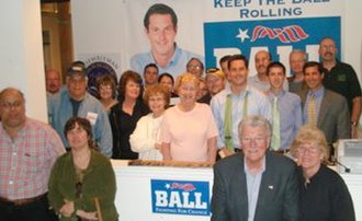 Greg Ball (politician) - At his Pawling, New York campaign headquarters, Assemblyman Ball and campaign volunteers gear up for his reelection bid in May 2008.