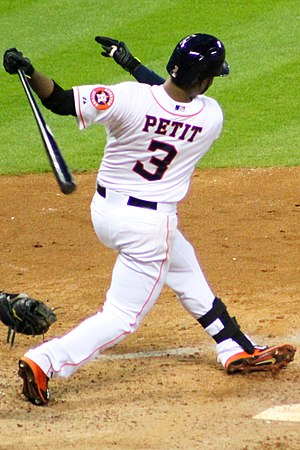 Petit with the Houston Astros Gregorio Petit swinging at Minute Maid August 2014.jpg