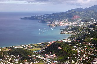 Grenada - An aerial photo of the capital St George's