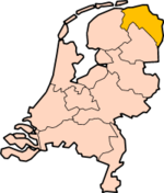 Map: Province of Groningen in the Netherlands