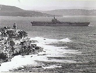 HMAS Sydney (R17) - Sydney passing through the Sydney Heads for the first time on 28 May 1949